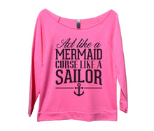 Act Like A Mermaid Curse Like A Sailor Womens 3/4 Long Sleeve Vintage Raw Edge Shirt Small Womens Tank Tops Pink