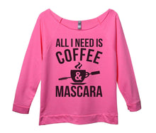 All I Need Is Coffee And Mascara Womens 3/4 Long Sleeve Vintage Raw Edge Shirt Small Womens Tank Tops Pink