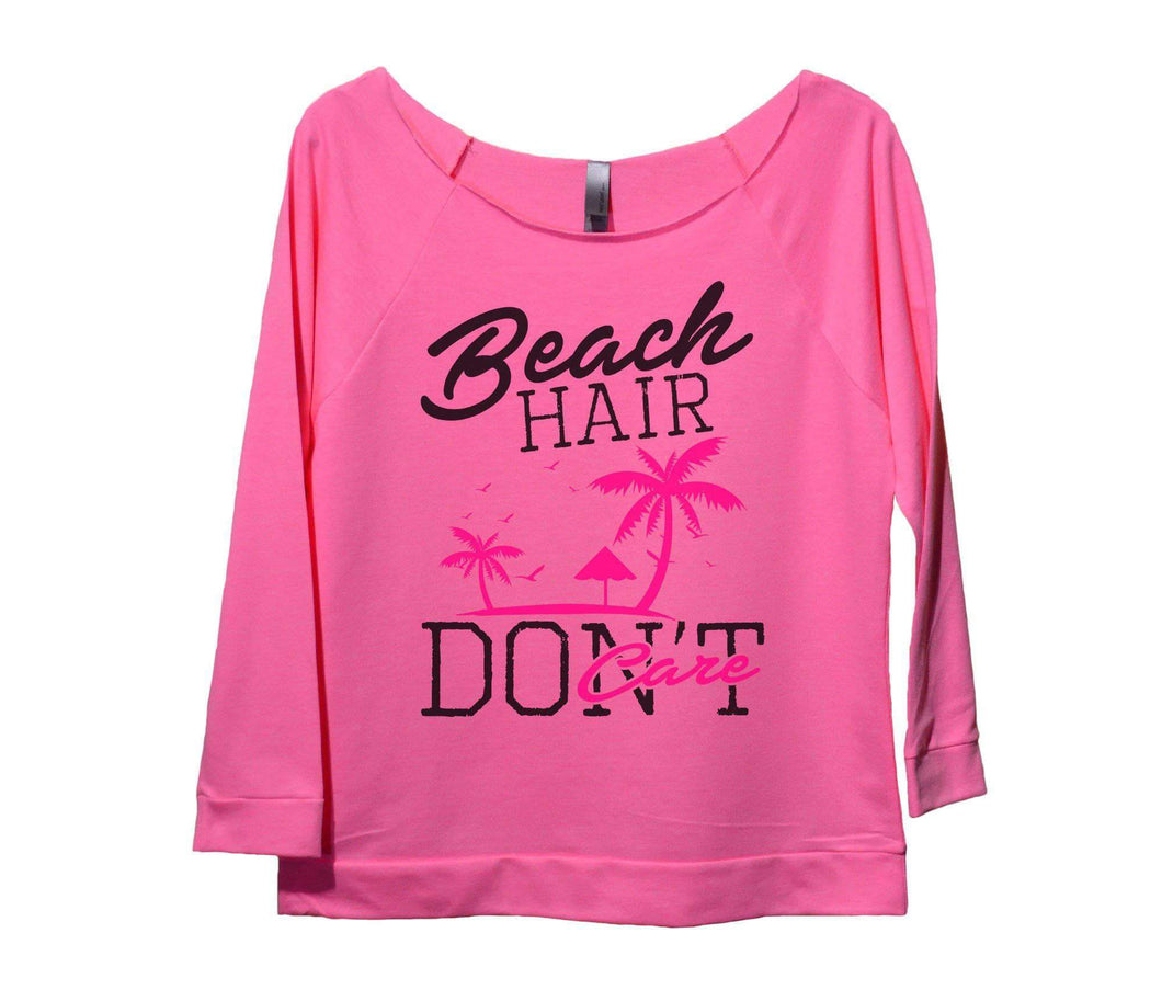 Beach Hair Don't Care Womens 3/4 Long Sleeve Vintage Raw Edge Shirt Small Womens Tank Tops Pink