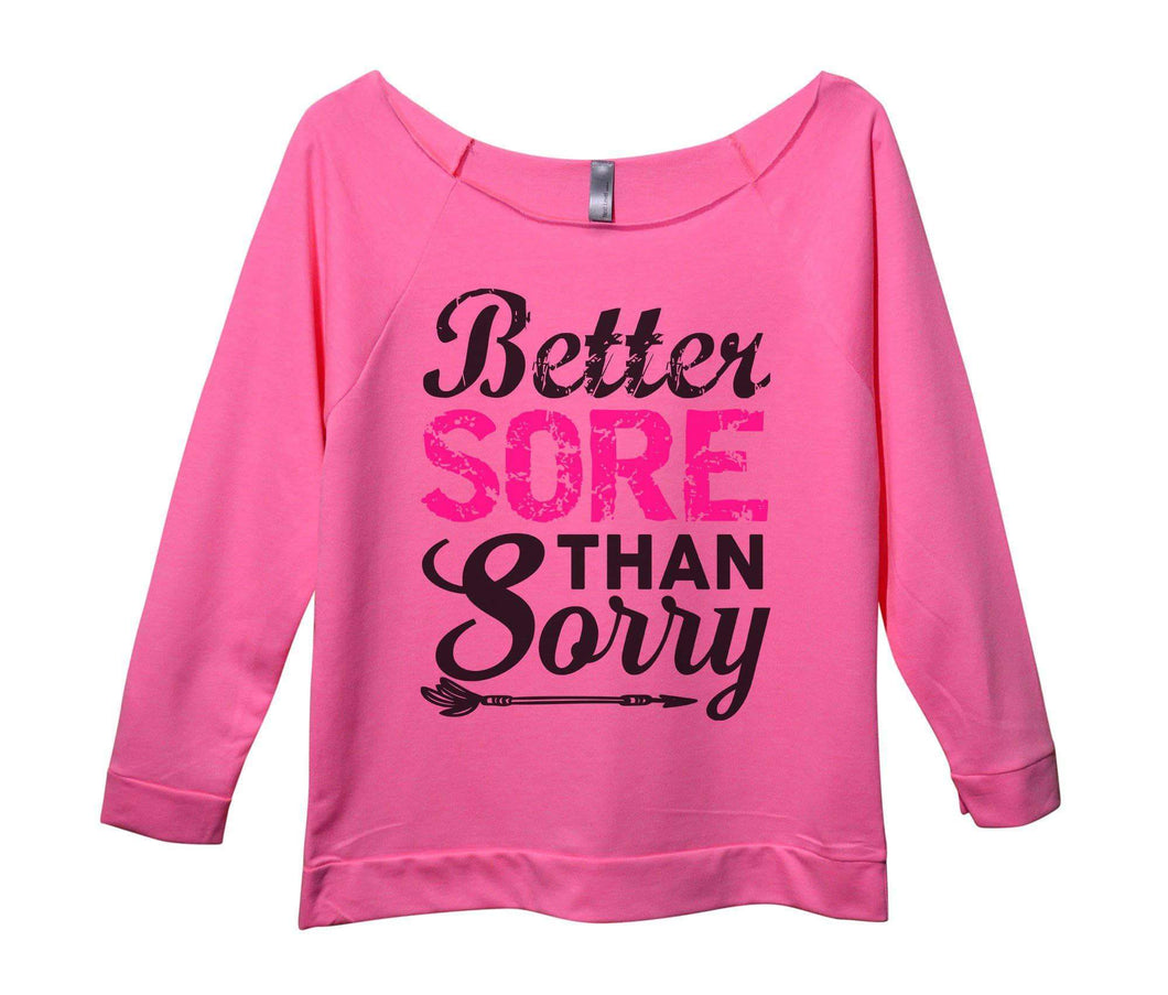 Better Sore Than Sorry Womens 3/4 Long Sleeve Vintage Raw Edge Shirt Small Womens Tank Tops Pink