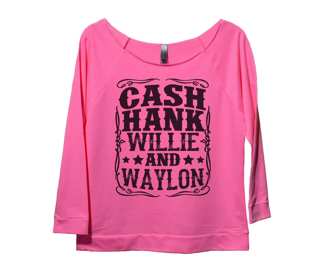Cash Hank Willie And Waylon Womens 3/4 Long Sleeve Vintage Raw Edge Shirt Small Womens Tank Tops Pink