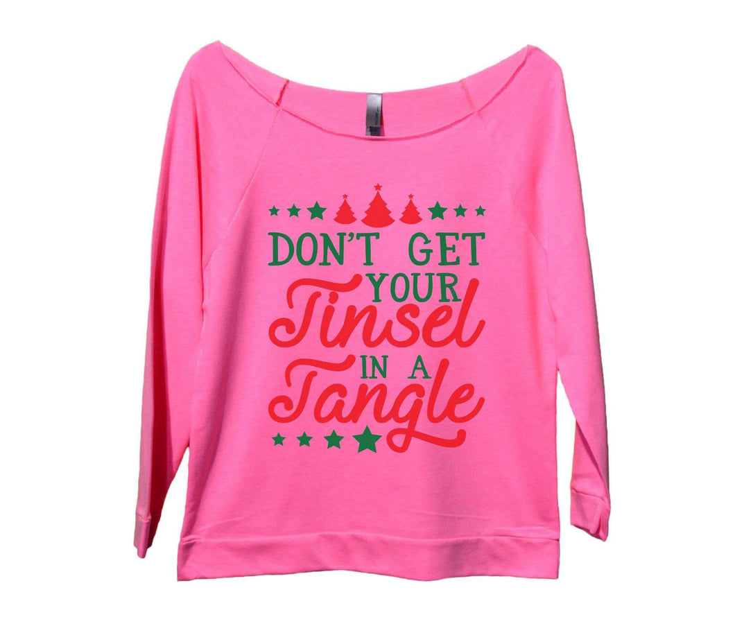 Don't Get Your Tinsel In A Tangle Womens 3/4 Long Sleeve Vintage Raw Edge Shirt Small Womens Tank Tops Pink