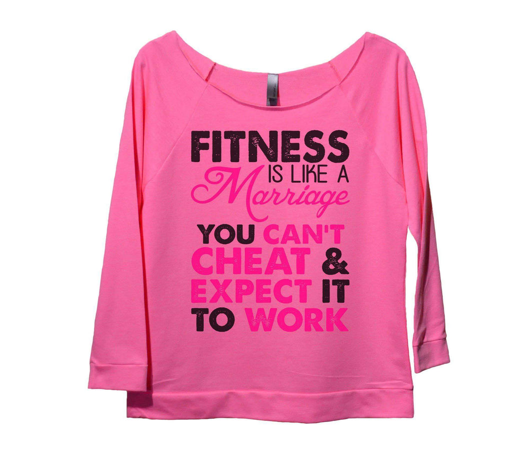 Fitness Is Like A Marriage You Can't Cheat And Expect It To Work Womens 3/4 Long Sleeve Vintage Raw Edge Shirt Small Womens Tank Tops Pink