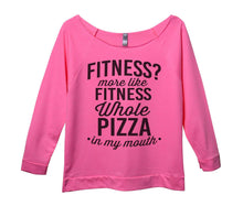 Fitness? More Like Fitness Whole Pizza In My Mouth Womens 3/4 Long Sleeve Vintage Raw Edge Shirt Small Womens Tank Tops Pink