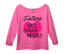 Future Mrs. Shawn Mendes Womens 3/4 Long Sleeve Vintage Raw Edge Shirt Small Womens Tank Tops Pink