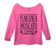 Hakuna Moscato It Means Drink Wine Womens 3/4 Long Sleeve Vintage Raw Edge Shirt Small Womens Tank Tops Pink