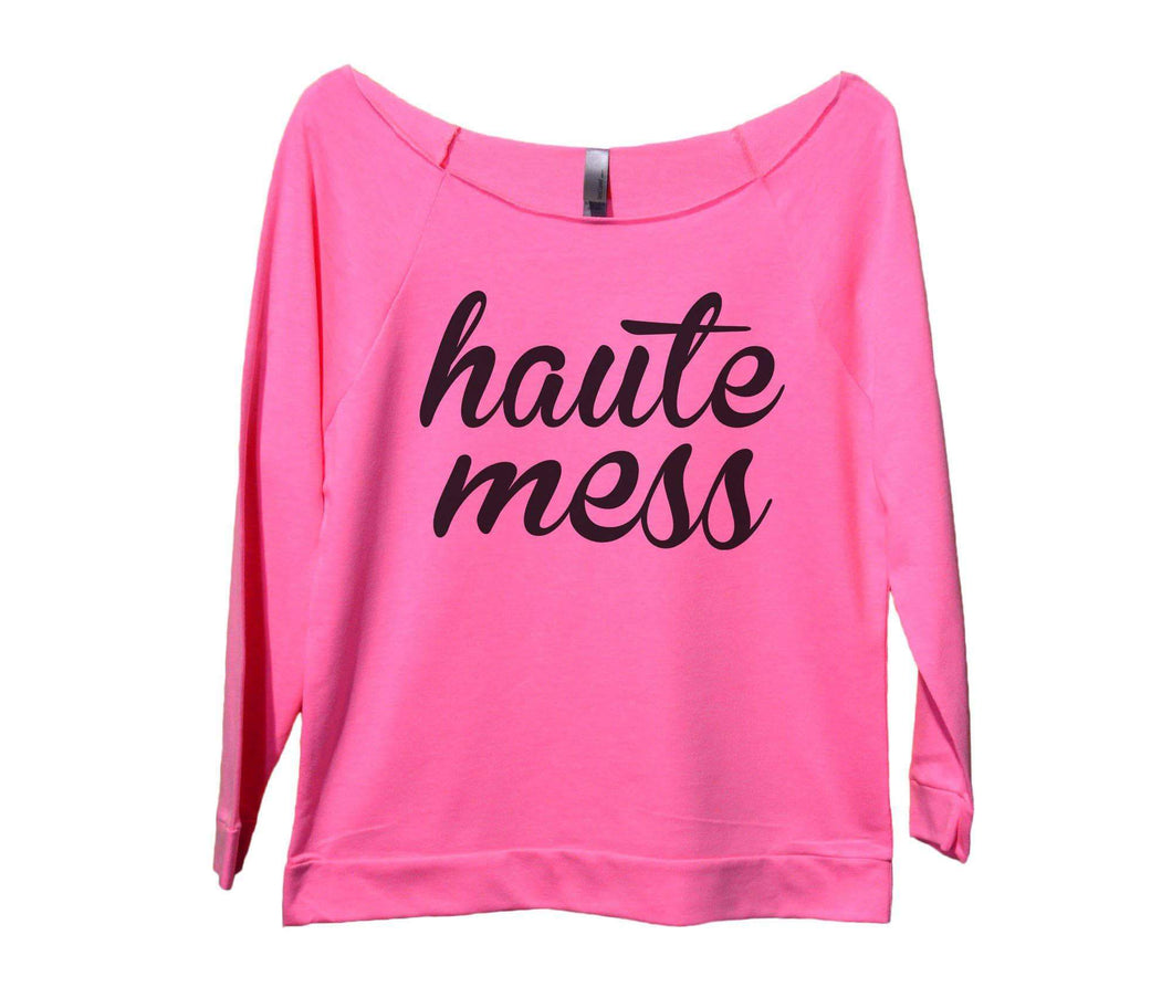 Haute Mess Womens 3/4 Long Sleeve Vintage Raw Edge Shirt Small Womens Tank Tops Pink