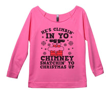 He's Climbin' In Yo Chimney Snatchin' Yo Christmas Up Womens 3/4 Long Sleeve Vintage Raw Edge Shirt Small Womens Tank Tops Pink