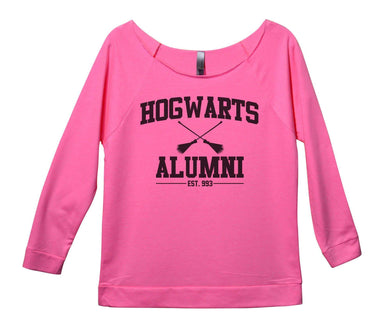Hogwarts Alumini Womens 3/4 Long Sleeve Vintage Raw Edge Shirt Small Womens Tank Tops Pink