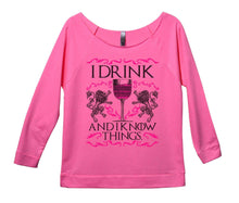 I Drink And I Know Things Womens 3/4 Long Sleeve Vintage Raw Edge Shirt Small Womens Tank Tops Pink