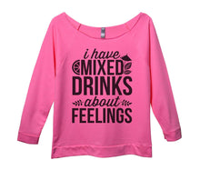 I Have Mixed Drinks About Feelings Womens 3/4 Long Sleeve Vintage Raw Edge Shirt Small Womens Tank Tops Pink