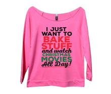 I Just Want To Bake Stuff And Watch Christmas Movies All Day Womens 3/4 Long Sleeve Vintage Raw Edge Shirt Small Womens Tank Tops Pink