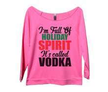 I'm Full Of Holiday Spirit It's Called Vodka Womens 3/4 Long Sleeve Vintage Raw Edge Shirt Small Womens Tank Tops Pink