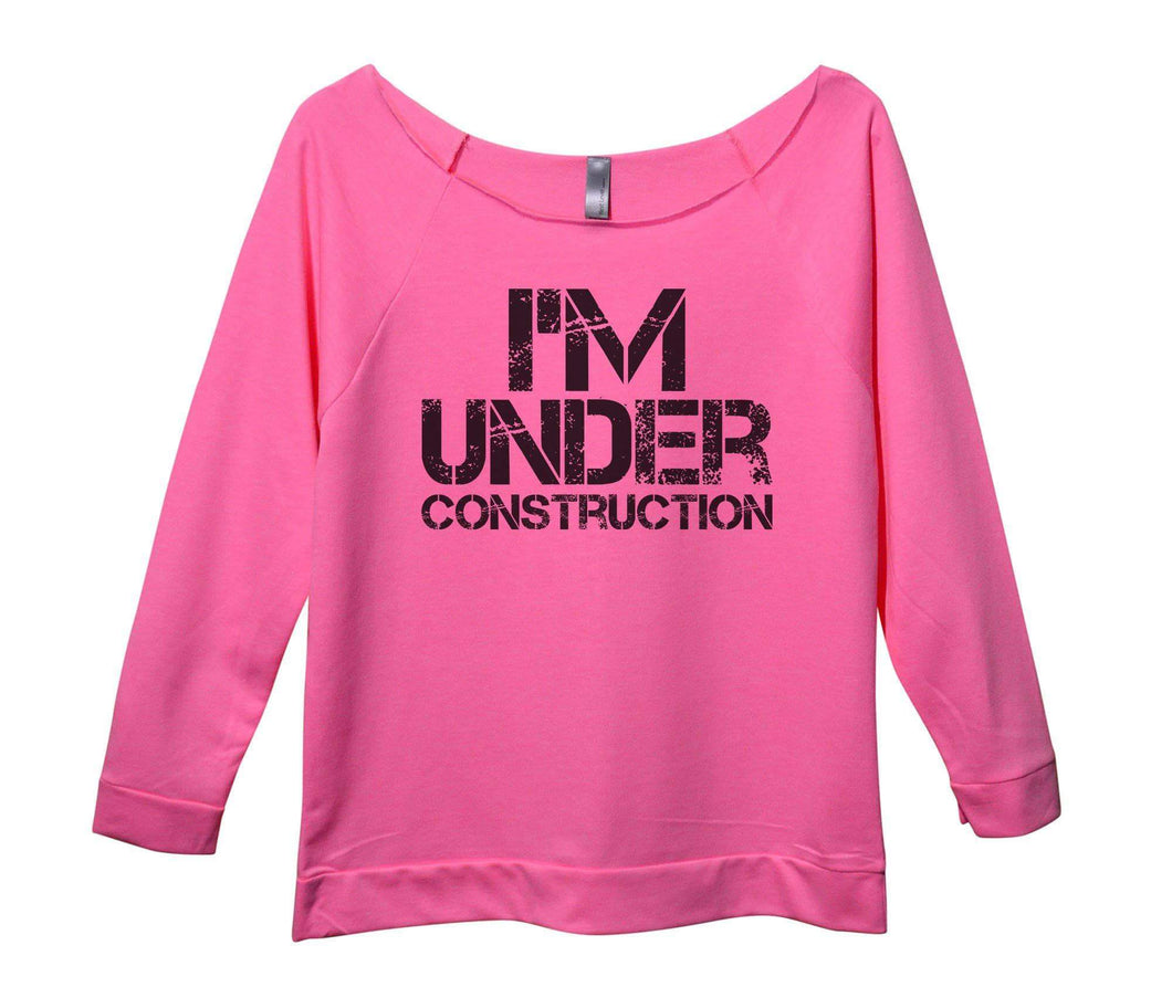 I'm Under Construction Womens 3/4 Long Sleeve Vintage Raw Edge Shirt Small Womens Tank Tops Pink