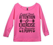 I Want Food Attention And Exercise I'm Basically A Puppy Womens 3/4 Long Sleeve Vintage Raw Edge Shirt Small Womens Tank Tops Pink