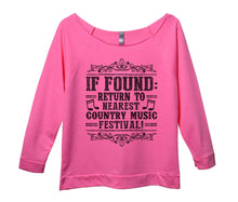 If Found Return To Nearest Country Music Festival! Womens 3/4 Long Sleeve Vintage Raw Edge Shirt Small Womens Tank Tops Pink