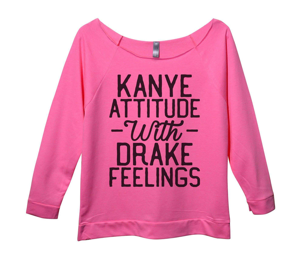 Kanye Attitude With Drake Feelings Womens 3/4 Long Sleeve Vintage Raw Edge Shirt Small Womens Tank Tops Pink