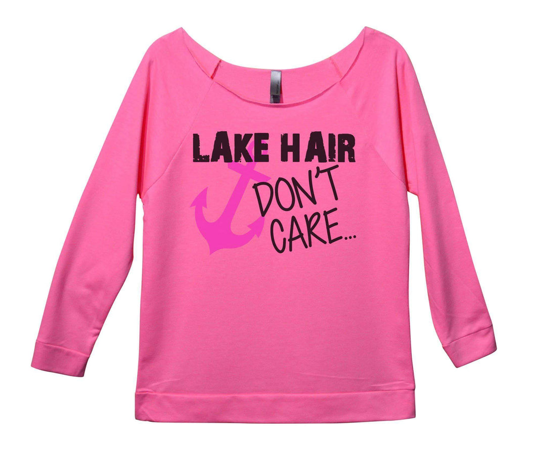 Lake Hair Don't Care Womens 3/4 Long Sleeve Vintage Raw Edge Shirt Small Womens Tank Tops Pink