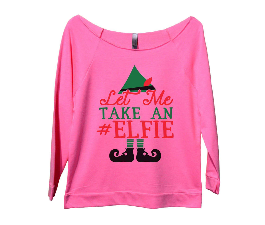 Let Me Take An Elfie Womens 3/4 Long Sleeve Vintage Raw Edge Shirt Small Womens Tank Tops Pink