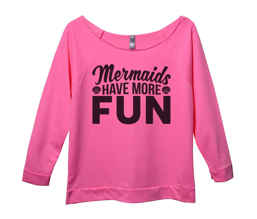 Mermaids Have More Fun Womens 3/4 Long Sleeve Vintage Raw Edge Shirt Small Womens Tank Tops Pink
