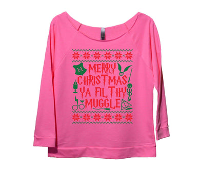 Merry Christmas Ya Filthy Muggle Womens 3/4 Long Sleeve Vintage Raw Edge Shirt Small Womens Tank Tops Pink