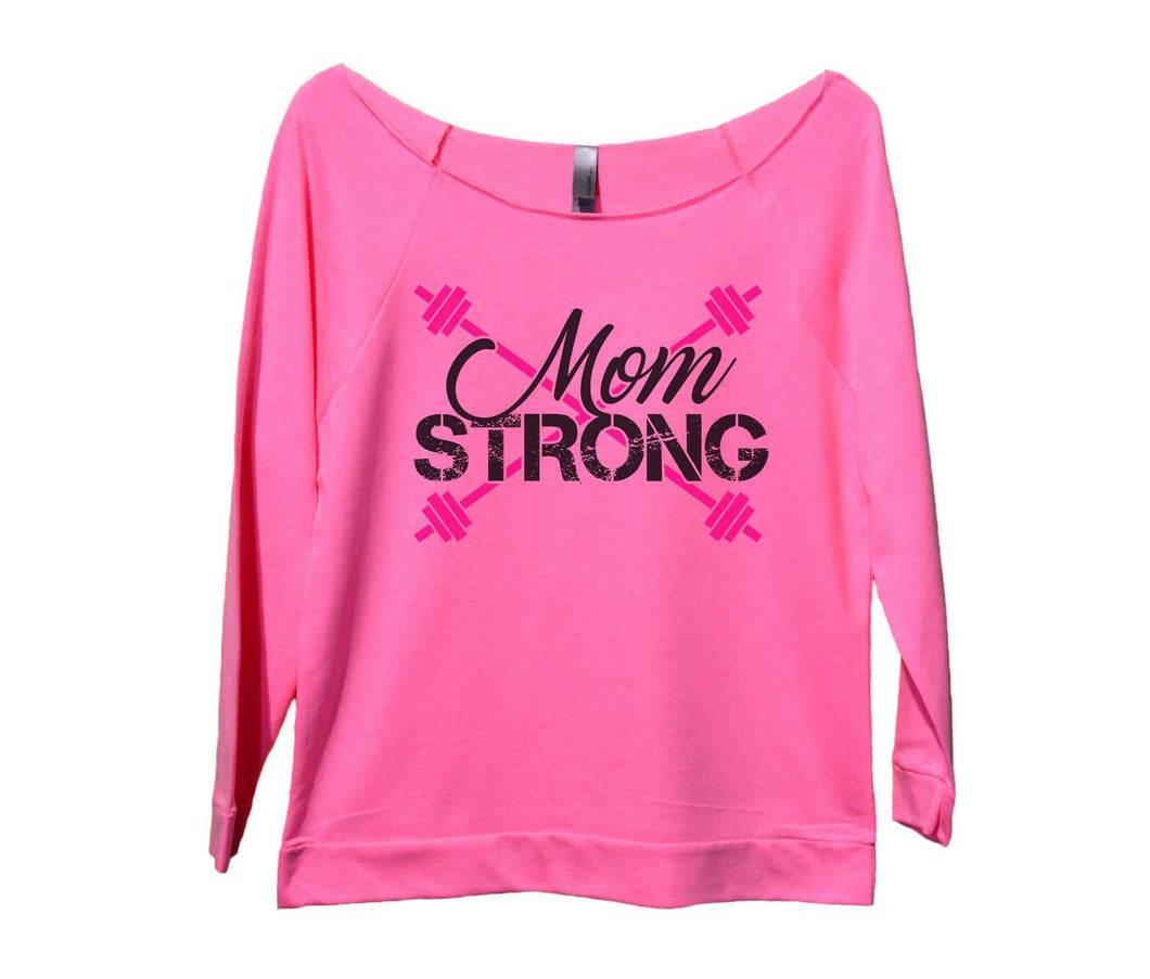 Mom Strong Womens 3/4 Long Sleeve Vintage Raw Edge Shirt Small Womens Tank Tops Pink