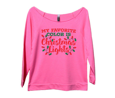My Favorite Color Is Christmas Lights Womens 3/4 Long Sleeve Vintage Raw Edge Shirt Small Womens Tank Tops Pink