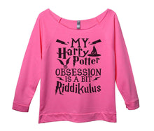 My Harry Potter Obsession Is A Bit Riddikulus Womens 3/4 Long Sleeve Vintage Raw Edge Shirt Small Womens Tank Tops Pink