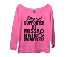 Proud Supporter Of Messy Hair And Sweatpants Womens 3/4 Long Sleeve Vintage Raw Edge Shirt Small Womens Tank Tops Pink