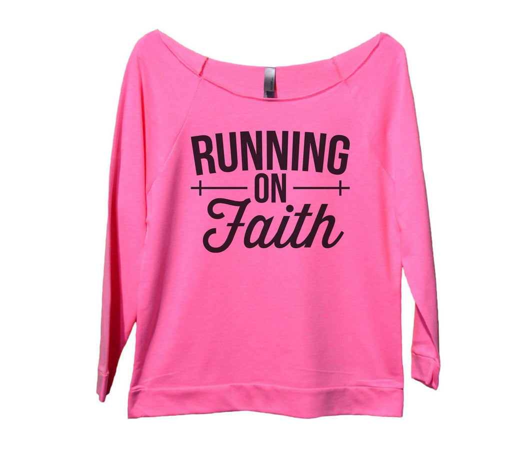 Running On Faith Womens 3/4 Long Sleeve Vintage Raw Edge Shirt Small Womens Tank Tops Pink