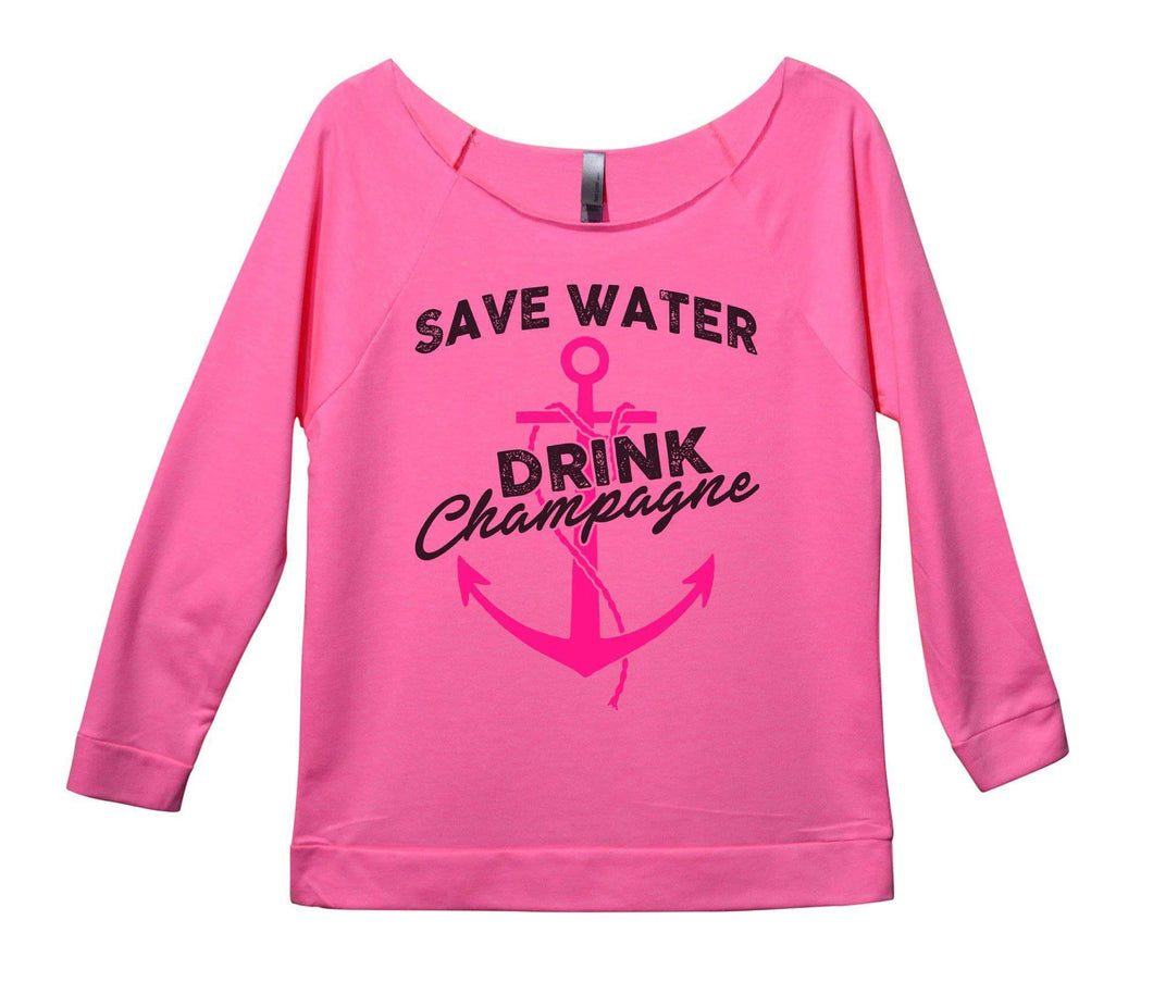 Save Water Drink Champagne Womens 3/4 Long Sleeve Vintage Raw Edge Shirt Small Womens Tank Tops Pink