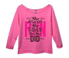 She Believed She Could Run So She Did Womens 3/4 Long Sleeve Vintage Raw Edge Shirt Small Womens Tank Tops Pink