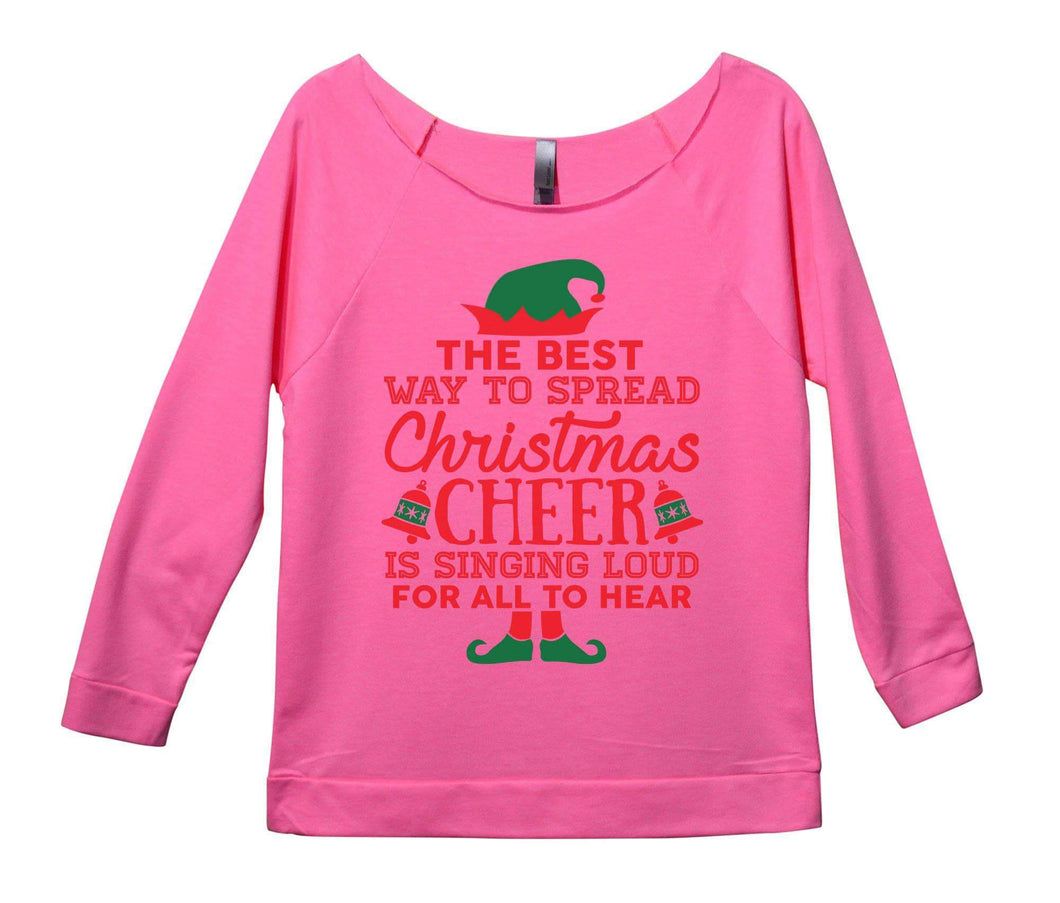 The Best Way To Spread Christmas Cheer Is Singing Loud For All To Hear Womens 3/4 Long Sleeve Vintage Raw Edge Shirt Small Womens Tank Tops Pink