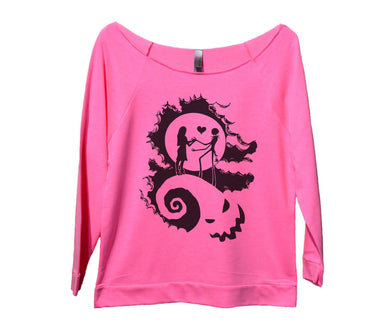 The Nightmare Before Christmas Womens 3/4 Long Sleeve Vintage Raw Edge Shirt Small Womens Tank Tops Pink