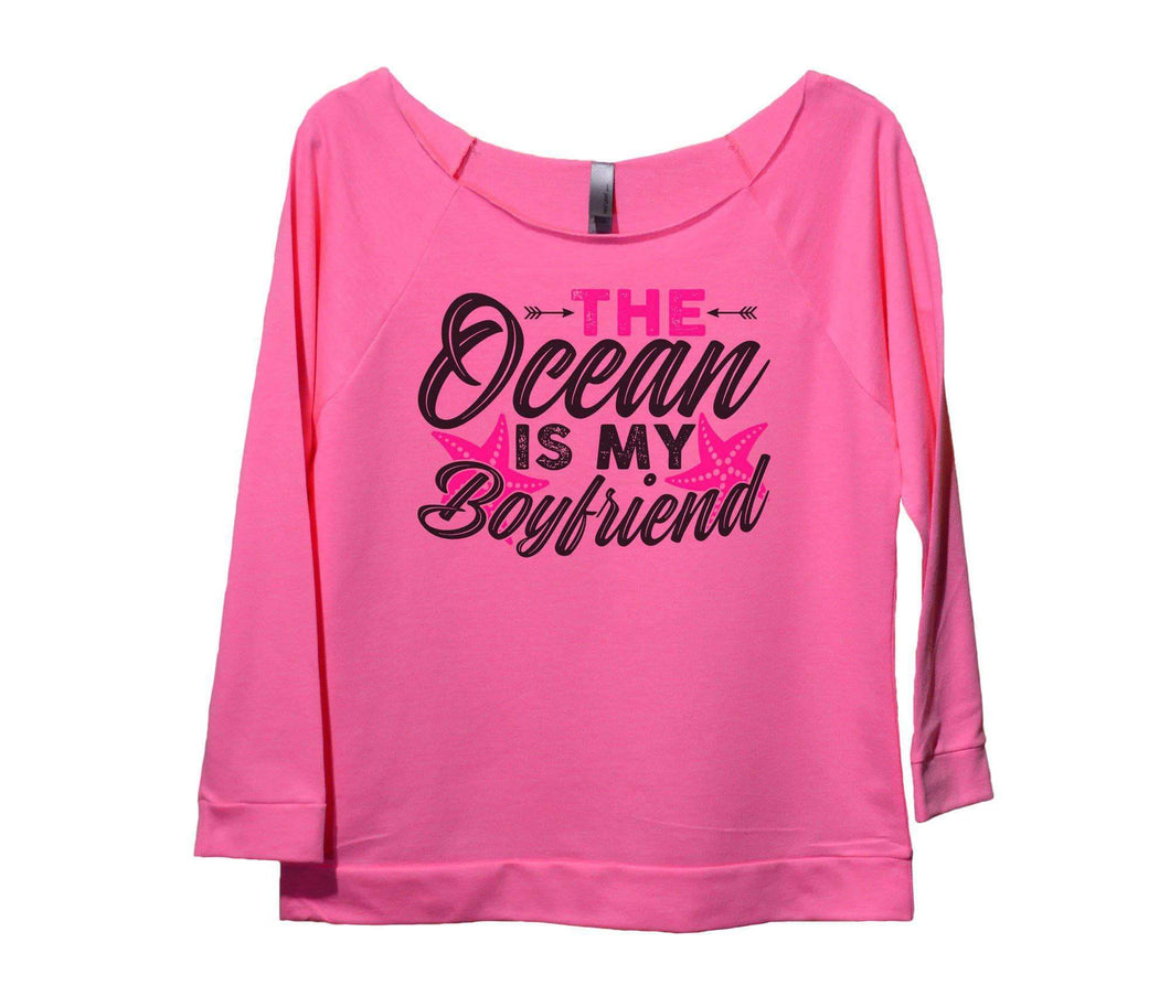 The Ocean Is My Boyfriend Womens 3/4 Long Sleeve Vintage Raw Edge Shirt Small Womens Tank Tops Pink