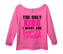 The Only Kids I Want Are Sour Patch Womens 3/4 Long Sleeve Vintage Raw Edge Shirt Small Womens Tank Tops Pink