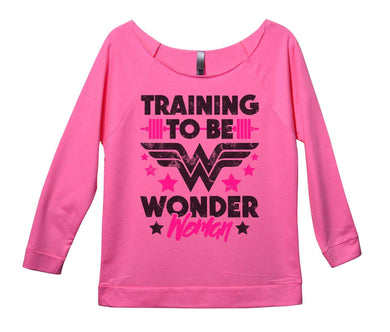 Training To Be Wonder Woman Womens 3/4 Long Sleeve Vintage Raw Edge Shirt Small Womens Tank Tops Pink