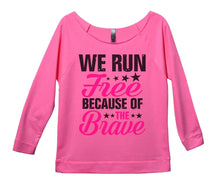 We Run Free Because Of The Brave Womens 3/4 Long Sleeve Vintage Raw Edge Shirt Small Womens Tank Tops Pink