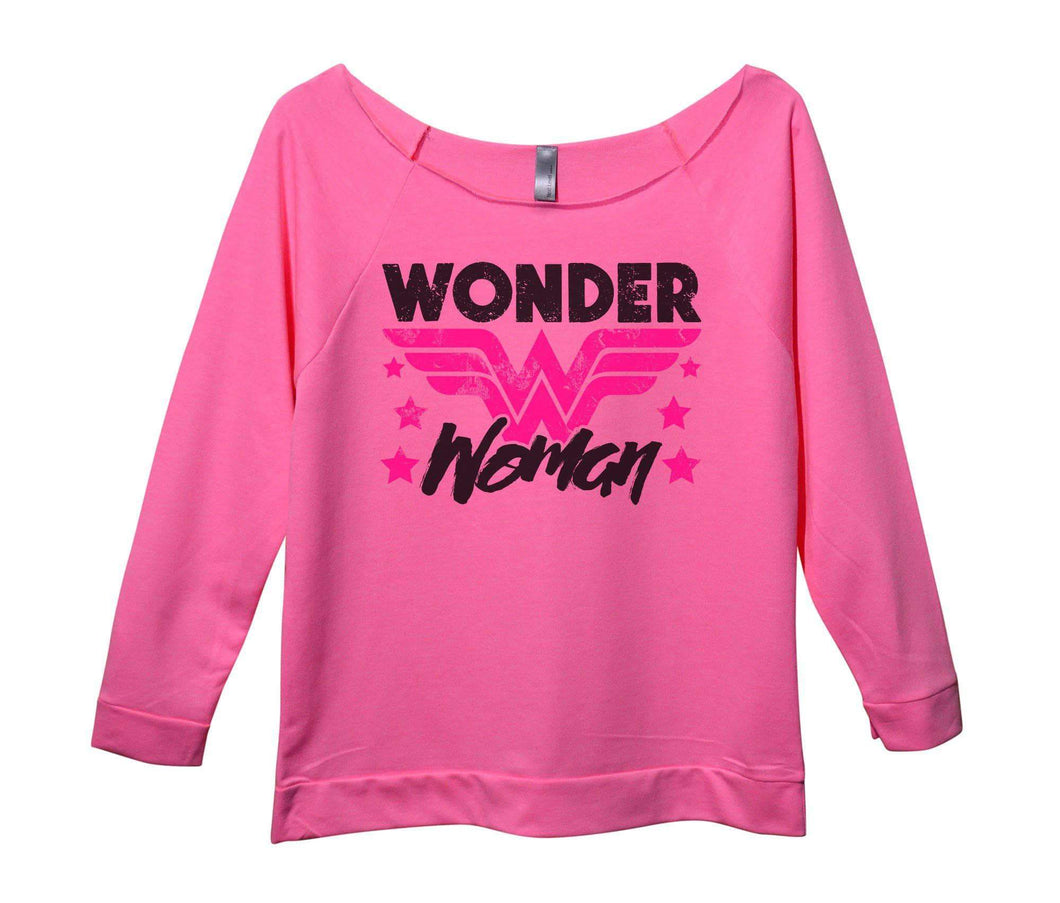 Wonder Woman Womens 3/4 Long Sleeve Vintage Raw Edge Shirt Small Womens Tank Tops Pink