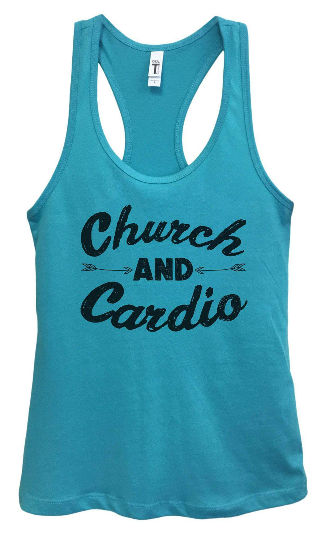 Womens Church And Cardio Grapahic Design Fitted Tank Top Small Womens Tank Tops Sky Blue