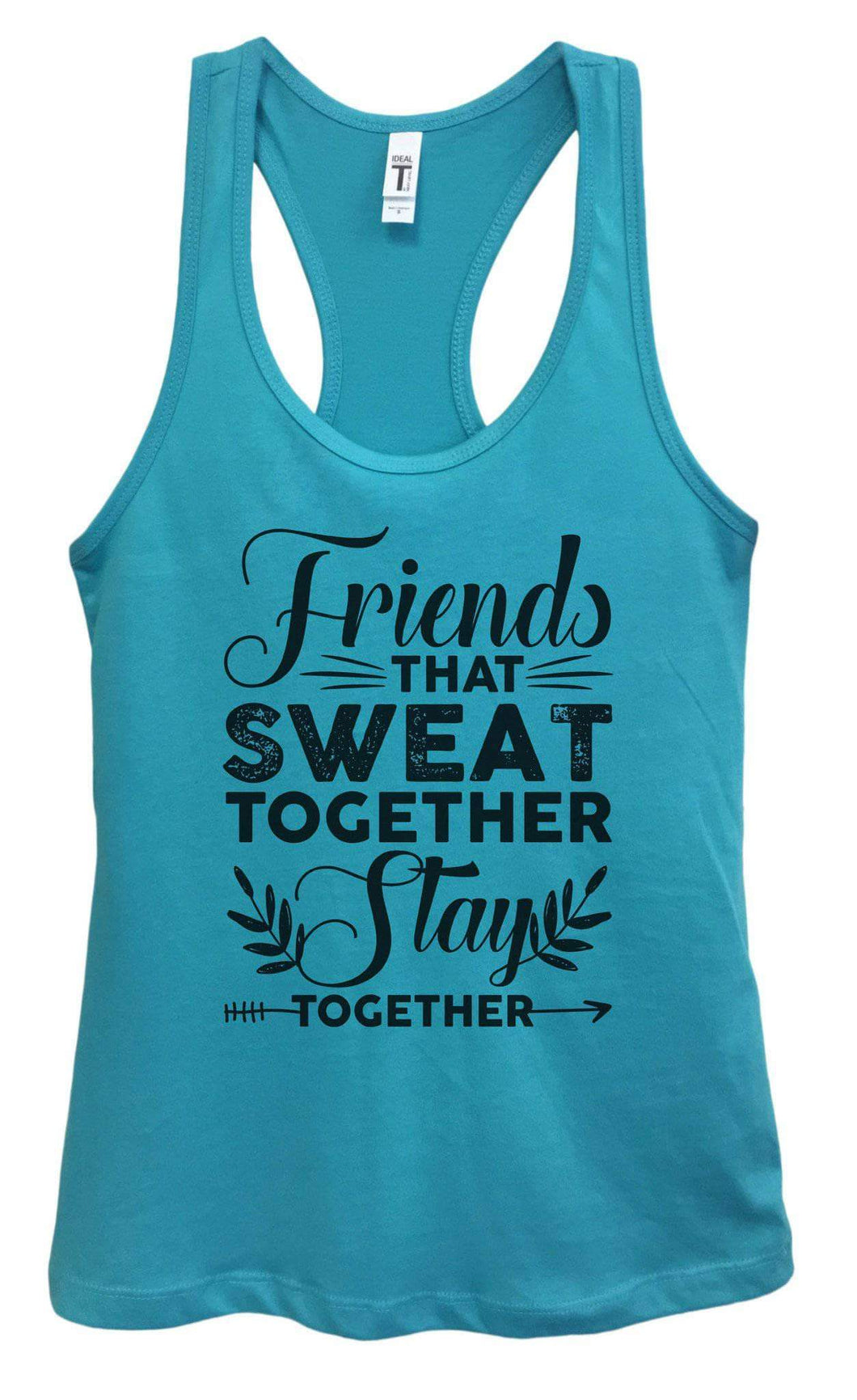 Womens Friends That Sweat Together Stay Together Grapahic Design Fitted Tank Top Small Womens Tank Tops Sky Blue