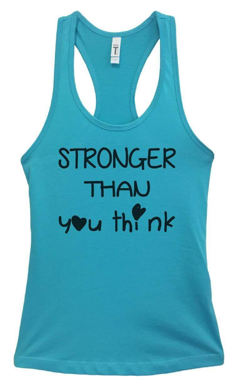 Womens STRONGER THAN You Think Grapahic Design Fitted Tank Top Small Womens Tank Tops Sky Blue