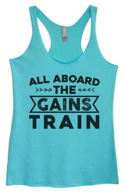 Womens Tri-Blend Tank Top - All Aboard The Gains Train Small Womens Tank Tops Vintage Blue
