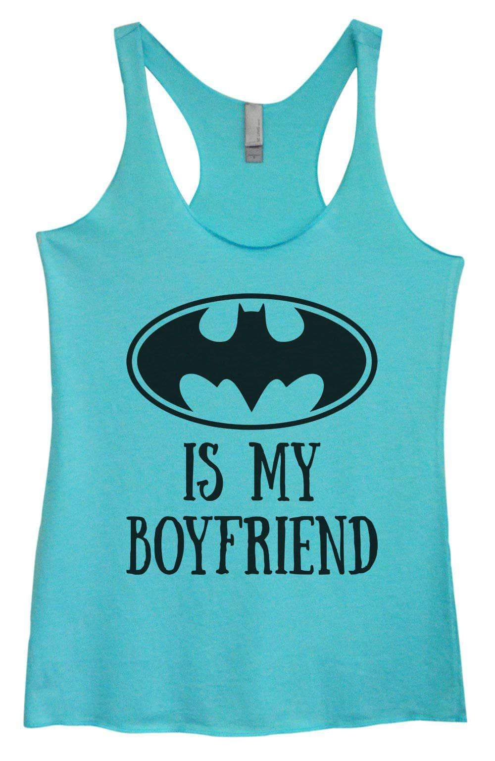 Womens Tri-Blend Tank Top - Batman Is My Boyfriend Small Womens Tank Tops Vintage Blue