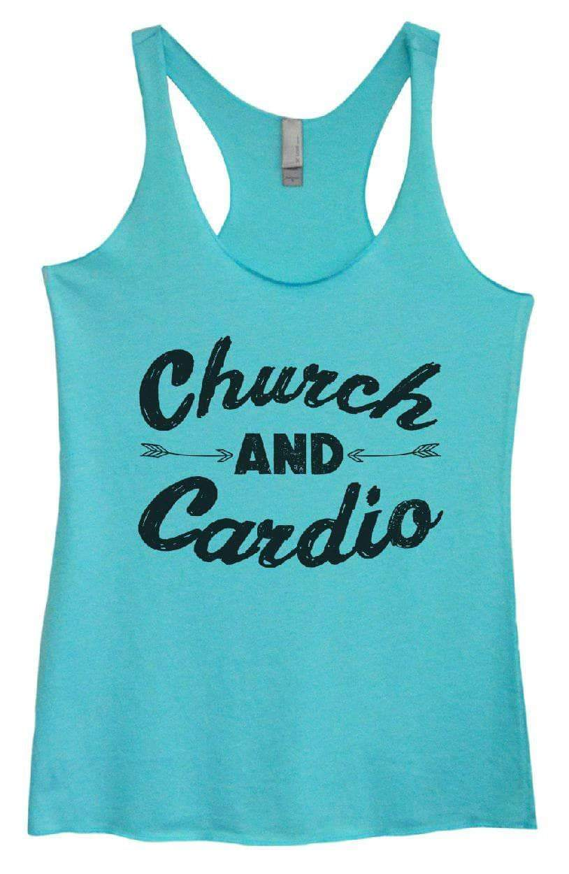 Womens Tri-Blend Tank Top - Church AND Cardio Small Womens Tank Tops Vintage Blue