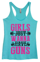 Womens Tri-Blend Tank Top - Girls Just Wanna Have Guns Small Womens Tank Tops Vintage Blue