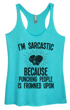 Womens Tri-Blend Tank Top - I'm Sarcastic Because Punching People Is Frowned Upon Small Womens Tank Tops Vintage Blue