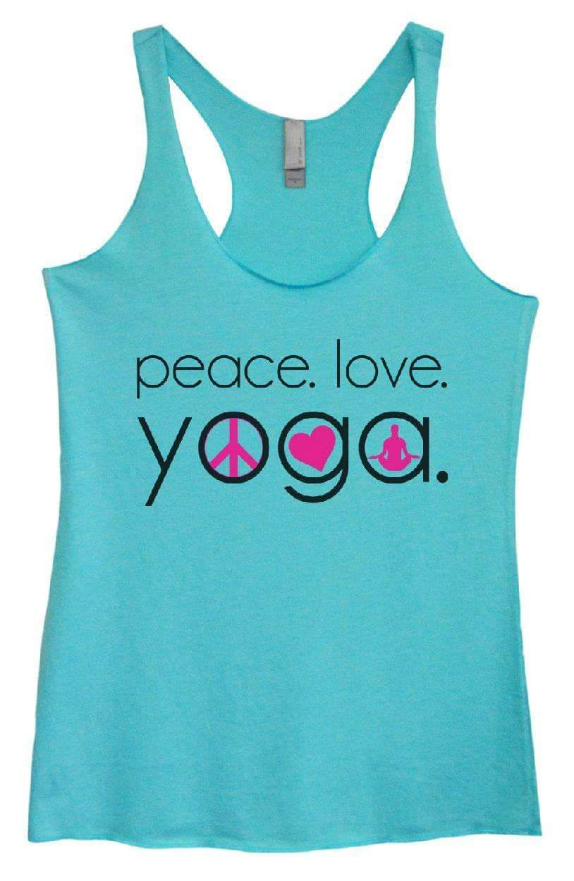 Womens Tri-Blend Tank Top - Peace. Love. Yoga. Small Womens Tank Tops Vintage Blue