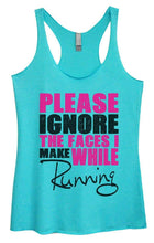 Womens Tri-Blend Tank Top - PLEASE IGNORE THE FACES I MAKE WHILE Running Small Womens Tank Tops Vintage Blue