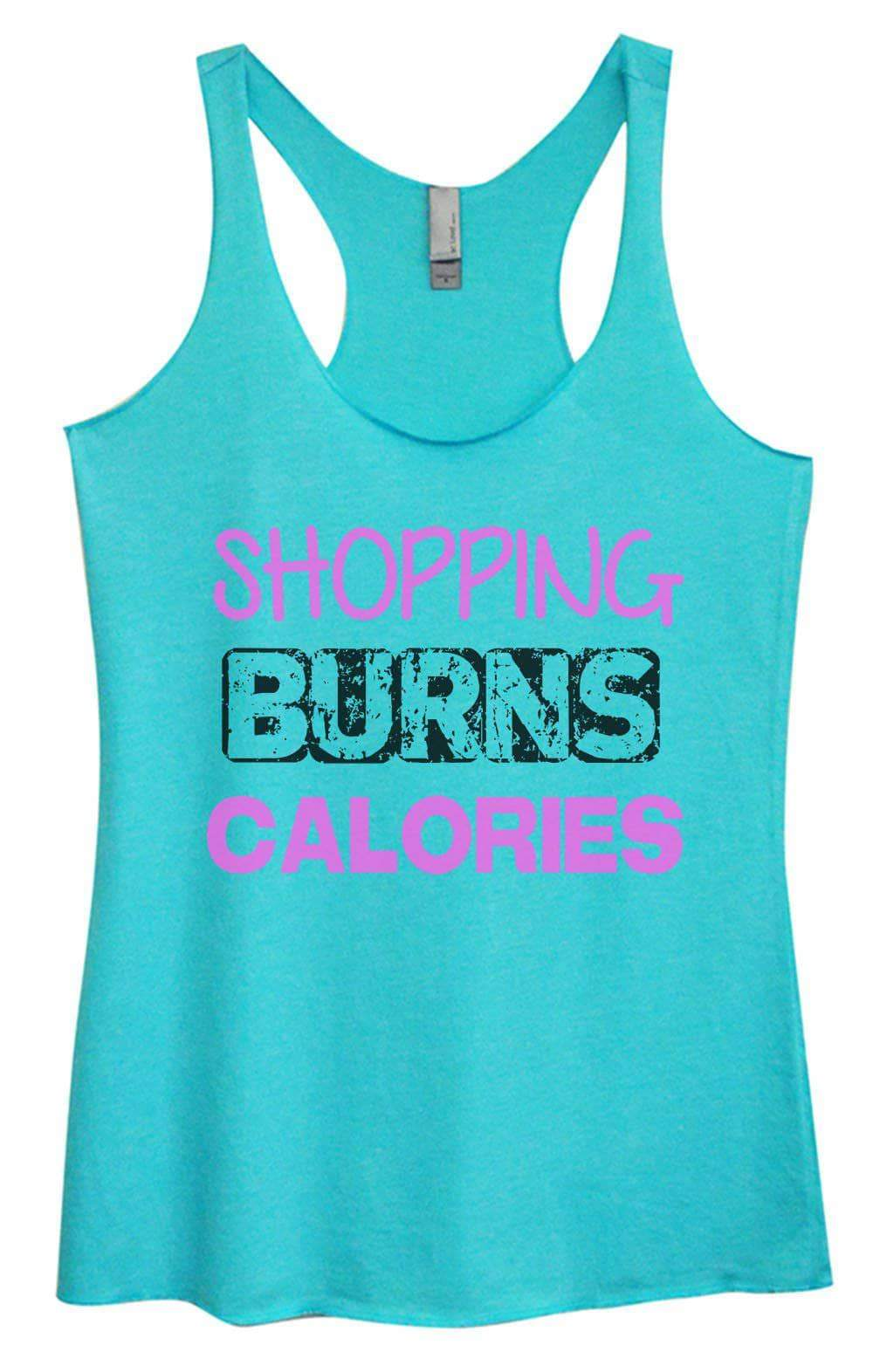 Womens Tri-Blend Tank Top - Shopping Burns Calories Small Womens Tank Tops Vintage Blue
